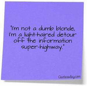 Im Not Stupid Q... Funny Blonde Quotes
