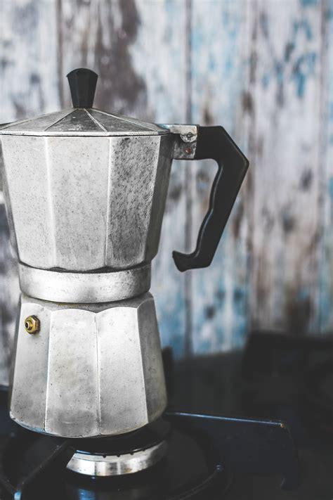 vintage moka espresso coffee pot maker  stock photo