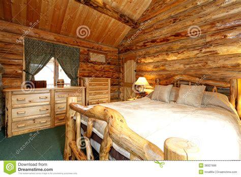 cozy bedroom  log cabin house stock photo image