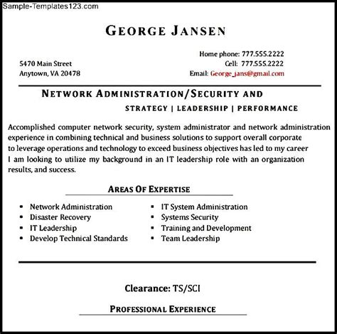 exle resume for network administrator network administrator resume exle sle templates