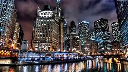 Skyline Chicago Night Wallpapers Widescreen River Wallpapersafari