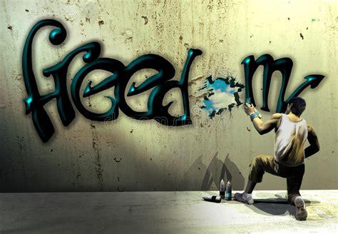 Graffiti Freedom : Freedom Graffiti Stock Illustration. Illustration Of
