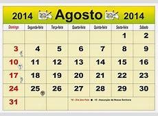 ARTEROCHA CALENDÁRIO MES DE AGOSTO 2014