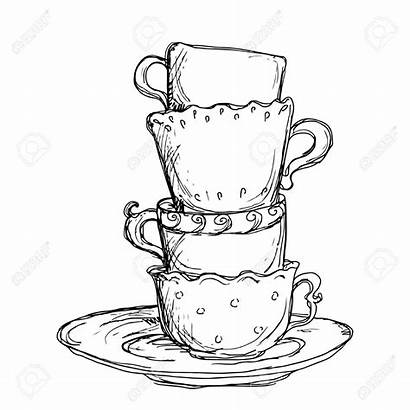 Cup Coffee Saucer Tea Clipart Drawing Sketch