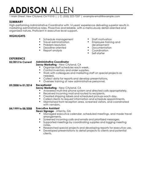 Office Coordinator Resume by Best Administrative Coordinator Resume Exle Livecareer