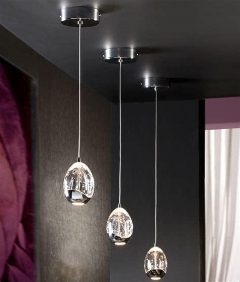 led single drop pendant  bubbles   glass