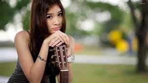 Sad asian girl with a guitar wallpaper - Girl wallpapers ...