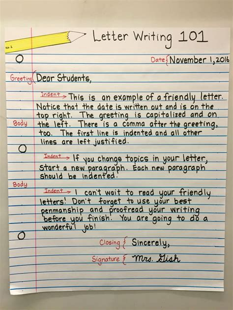 friendly letter anchor chart  grade education