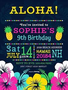 Kids Birthday Invitation Card Template Colorful Polynesian Birthday Party Vector Invitation