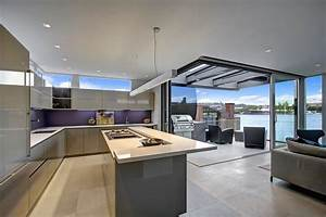 Floating home interiors for west coast living for Modern house kitchen interior design