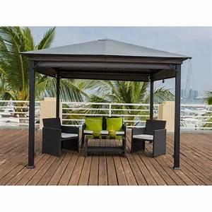 Tonnelle De Jardin 3x3 : seychelles tonnelle de jardin en acier 3x3 m avec rideaux ~ Nature-et-papiers.com Idées de Décoration