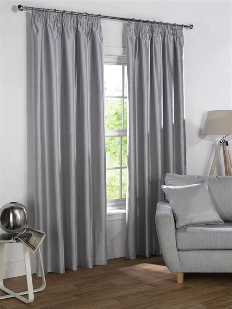 silver faux silk blackout lined pencil pleat curtains