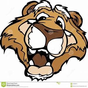 Smiling Cartoon Mountain Lion Or Cougar Mascot Royalty ...