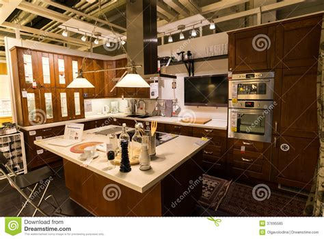 kitchen furniture store kitchen in the furniture store ikea editorial image image 37695585