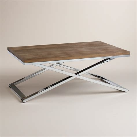 Wood And Chrome Pierceson Coffee Table World Market