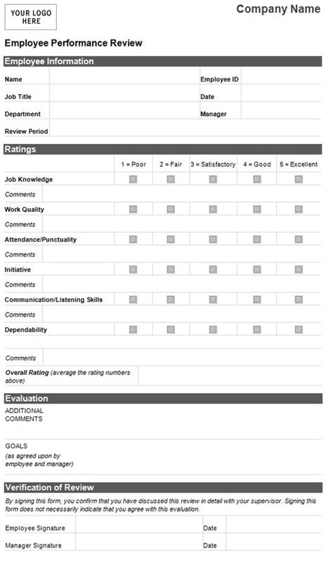 employee evaluation template employee performance