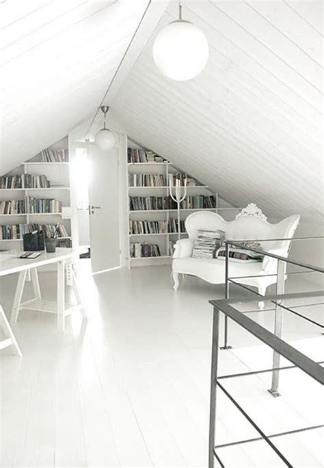 modern white attic library