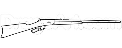 How To Draw A Winchester Rifle, Step By Step, Guns