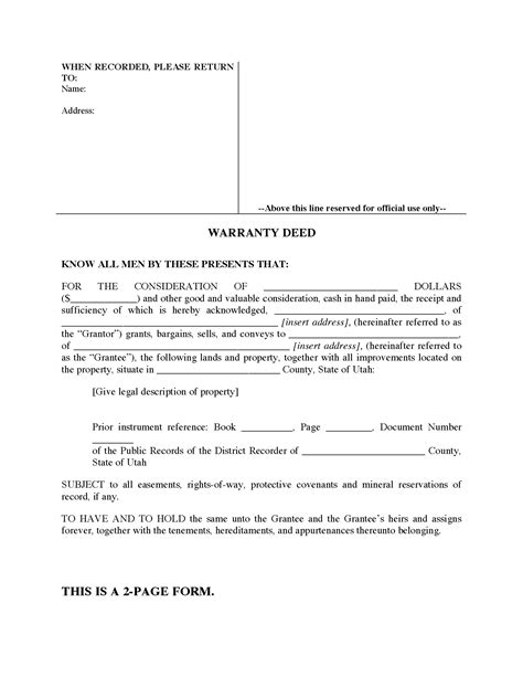 utah warranty deed form legal forms  business