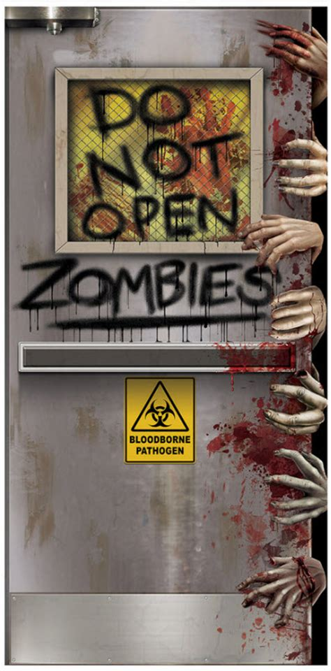 Scary Door Decorating Contest Ideas - zombies lab door cover decorations props