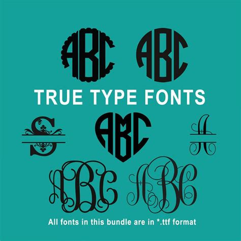 true type monogram font bundle  cricut design space  silhouette