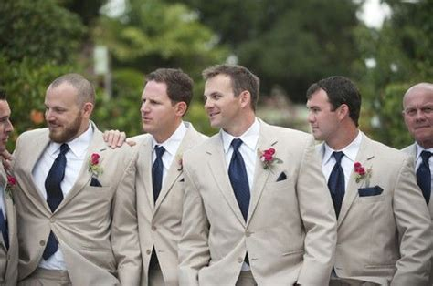 Navy & Tan Groomsmen Suits -- This Could Be An Option To