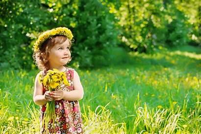 Flower Holding Child Eyes Dandelion Summer Background