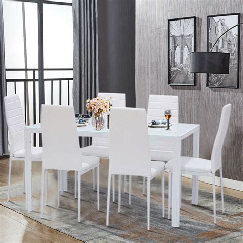 modern white glass dining table set   padded leather