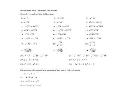complex numbers worksheet worksheets kristawiltbank free