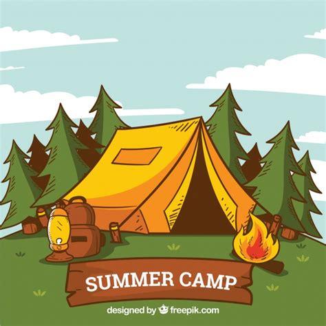 fondo de campamento de verano dibujado  mano  tienda  hoguera descargar vectores gratis
