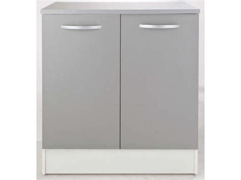 meuble bas cuisine hauteur 80 cm meuble bas 80 cm 2 portes spoon color coloris gris vente