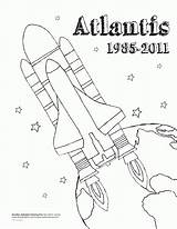 Coloring Shuttle Space Atlantis Sheet Popular Realistic Coloringhome sketch template