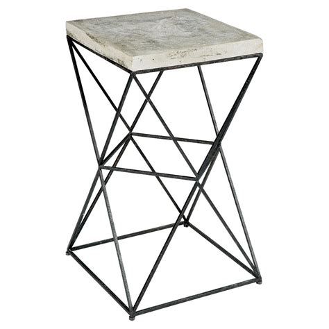 black metal end table ridge industrial loft black metal concrete end table