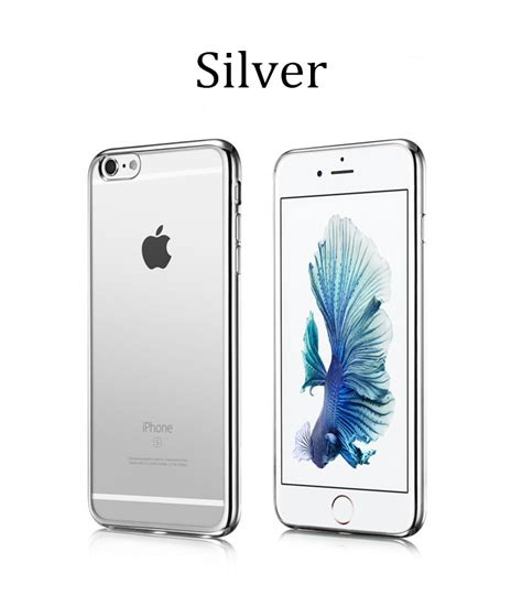 silver iphone 6 transparent soft rubber cover with silver bumper for