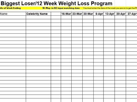 biggest loser tracking spreadsheet template
