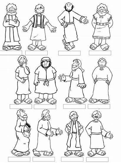 Coloring Apostles Twelve Disciples Jesus Bible Sunday