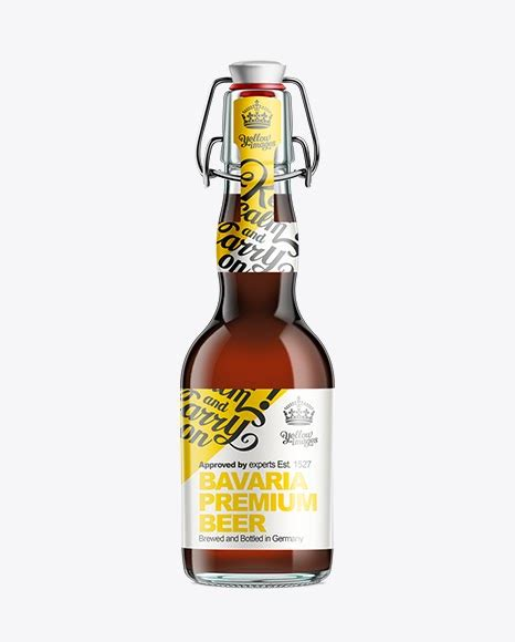 Brewery logo maker for premium beer with minimalist design. Glass Bottle with Brown Ale and Swing Top Closure 330ml