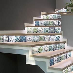 Escalier Carreaux De Ciment : stickers escalier carreaux de ciment cabiria x 2 ambiance ~ Dailycaller-alerts.com Idées de Décoration