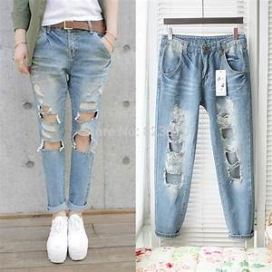 Free shipping 2014 new design big Hole denim jeans women fashion show sexy leg jeans trousers ...