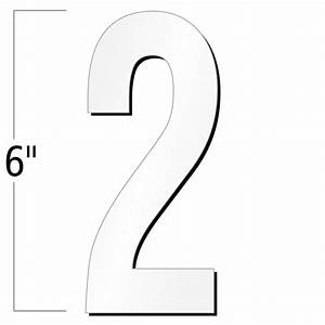 6 inch die cut magnetic number 2 white sku nl mg 6 wt 2 for White magnetic letters and numbers