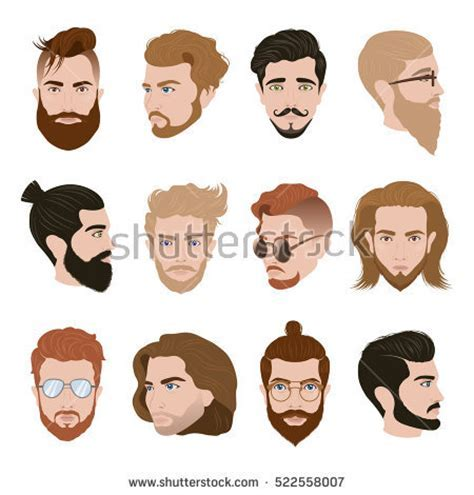 Men Hairstyle Collection Beards Moustache Glasses Stock