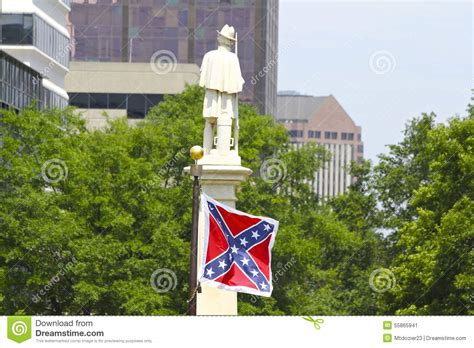 Rebel Flag And Confederate Monument At South Carolina