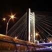 Basarab bridge in the night. Old and new over Bucharest ...