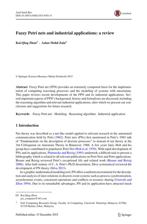 (PDF) Fuzzy Petri nets and industrial applications: a review