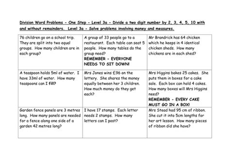 division word problems levels     emmastead