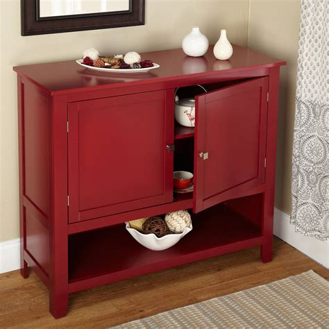 red buffet cabinet kitchen storage shelf  doors table