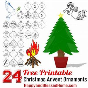 free advent calendar and advent christmas ornaments craft With christmas tree decorations printable