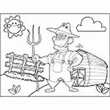 Farm Farmer Pitchfork Coloring Pages sketch template
