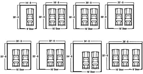 standard 2 car garage size dimension standard garage obasinc
