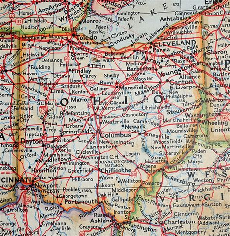 old map - ohio   here the interstates are only partially ...